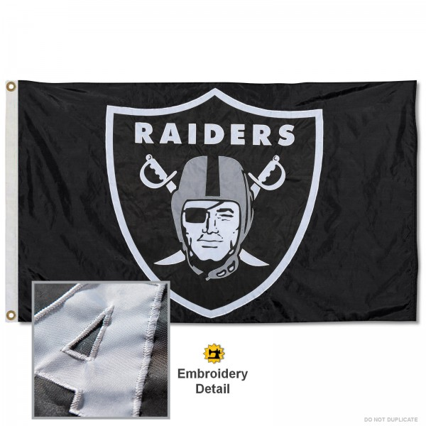 This Las Vegas Raiders Embroidered Nylon Flag is double sided, made of nylon, 3'x5', has two metal grommets, indoor or outdoor, and four-stitched fly ends. These Las Vegas Raiders Embroidered Nylon Flags are Officially Approved the Las Vegas Raiders and NFL.