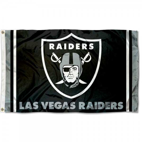 Our Las Vegas Raiders Flag is double sided, made of poly, 3'x5', has two metal grommets, indoor or outdoor, and four-stitched fly ends. These Las Vegas Raiders Flags are Officially Approved by the Las Vegas Raiders.