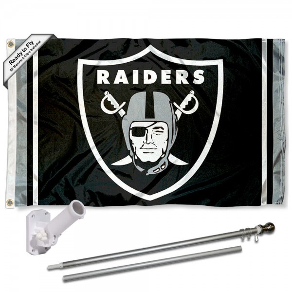 Our Las Vegas Raiders Flag Pole and Bracket Kit includes the flag as shown and the recommended flagpole and flag bracket. The flag is made of polyester, has quad-stitched flyends, and the NFL Licensed team logos are double sided screen printed. The flagpole and bracket are made of rust proof aluminum and includes all hardware so this kit is ready to install and fly.