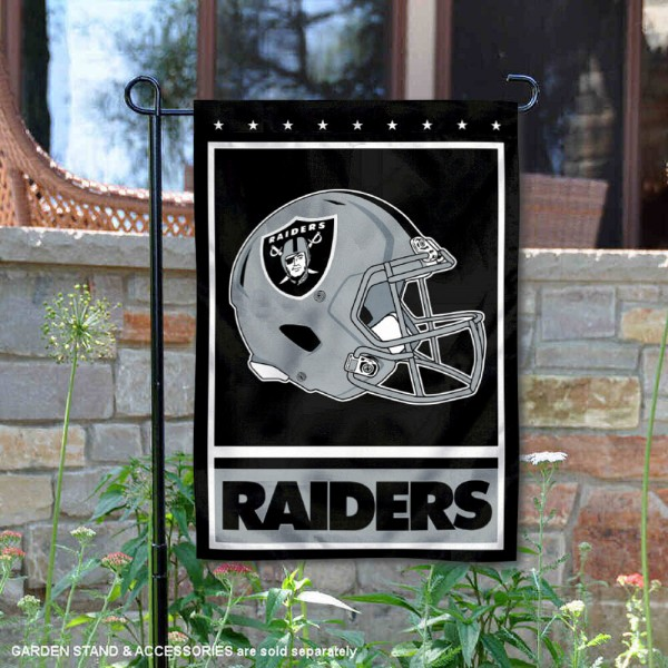 Las Vegas Raiders Football Garden Banner Flag is 12.5x18 inches in size, is made of 2-ply polyester, and has two sided screen printed logos and lettering. Available with Express Next Day Ship, our Las Vegas Raiders Football Garden Banner Flag is NFL Officially Licensed and is double sided.
