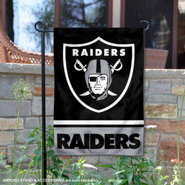 Las Vegas Raiders Garden Flag is 12.5x18 inches in size, is made of 2-ply polyester, and has two sided screen printed logos and lettering. Available with Express Next Day Ship, our Las Vegas Raiders Garden Flag is NFL Officially Licensed and is double sided.