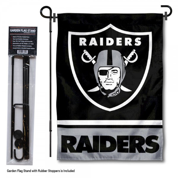 "Las Vegas Raiders Garden Flag and Stand kit includes our 13""x18"" garden banner which is made of 2 ply poly with liner and has screen printed licensed logos. Also, a 40""x17"" inch garden flag stand is included so your Las Vegas Raiders Garden Flag and Stand is ready to be displayed with no tools needed for setup. Fast Overnight Shipping is offered and the flag is Officially Licensed and Approved by the selected team."