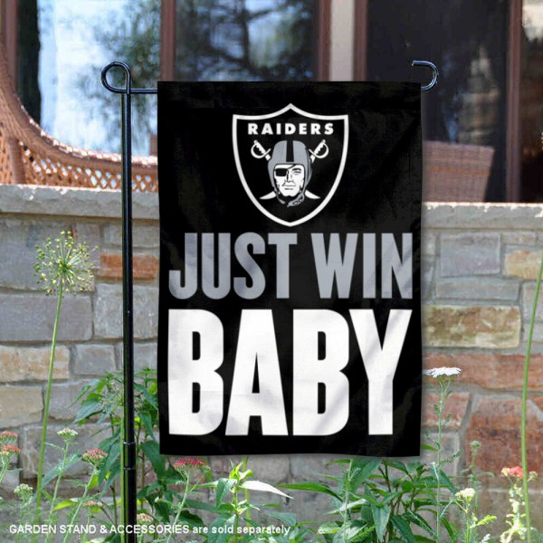 Las Vegas Raiders Just Win Baby Garden Banner Flag is 12.5x18 inches in size, is made of 2-ply polyester, and has two sided screen printed logos and lettering. Available with Express Next Day Ship, our Las Vegas Raiders Just Win Baby Garden Banner Flag is NFL Officially Licensed and is double sided.