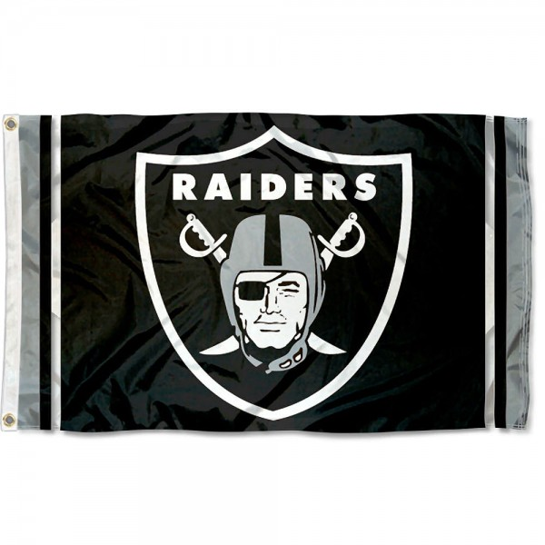 Our Las Vegas Raiders Logo Flag is double sided, made of poly, 3'x5', has two metal grommets, indoor or outdoor, and four-stitched fly ends. These Las Vegas Raiders Logo Flags are Officially Licensed by the NFL.
