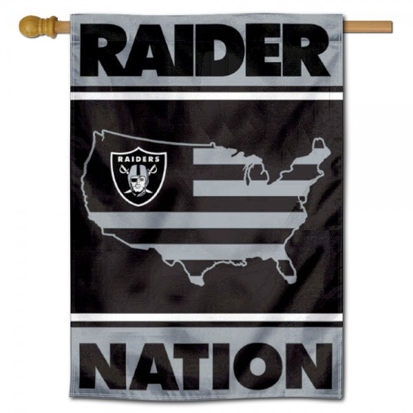 Las Vegas Raiders Nation Double Sided House Banner is screen printed with Las Vegas Raiders logos, is made of 2-ply 100% polyester, and is two sided and double sided. Our banners measure 28x40 inches and hang vertically with a top pole sleeve to insert your banner pole or flagpole.