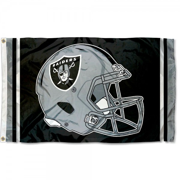 Our Las Vegas Raiders New Helmet Flag is two sided, made of poly, 3'x5', Overnight Shipping, has two metal grommets, indoor or outdoor, and four-stitched fly ends. These Las Vegas Raiders New Helmet Flags are Officially Approved by the Las Vegas Raiders.