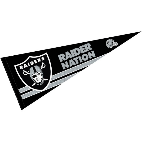 This Las Vegas Raiders Raider Nation Pennant is 12x30 inches, is made of premium felt blends, has a pennant stick sleeve, and the team logos are single sided screen printed. Our Las Vegas Raiders Raider Nation Pennant is NFL Officially Licensed.