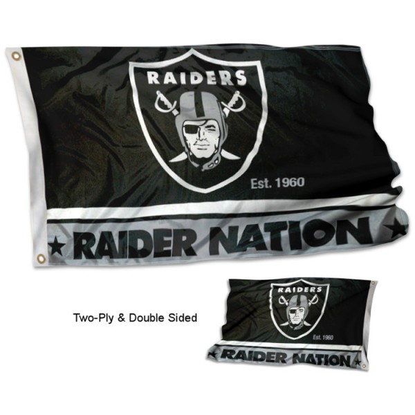Las Vegas Raiders Raiders Nation Double Sided Flag measures 3'x5', is made of 2-ply double sided polyester with liner, has quadruple stitched sewing, two metal grommets, and has two sided team logos. Our Las Vegas Raiders Raiders Nation Double Sided Flag is officially licensed by the selected team and the NFL and is available with overnight express shipping.