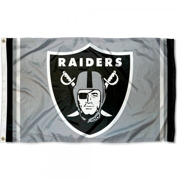Our Las Vegas Raiders Silver Flag is double sided, made of poly, 3'x5', has two metal grommets, indoor or outdoor, and four-stitched fly ends. These Las Vegas Raiders Silver Flags are Officially Approved by the Las Vegas Raiders.