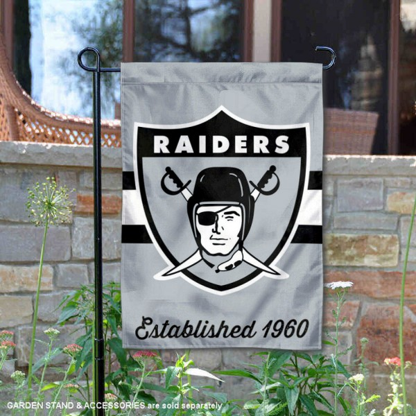 Las Vegas Raiders Throwback Logo Double Sided Garden Flag Flag is 12.5x18 inches in size, is made of 2-ply polyester, and has two sided screen printed logos and lettering. Available with Express Next Day Ship, our Las Vegas Raiders Throwback Logo Double Sided Garden Flag Flag is NFL Officially Licensed and is double sided.