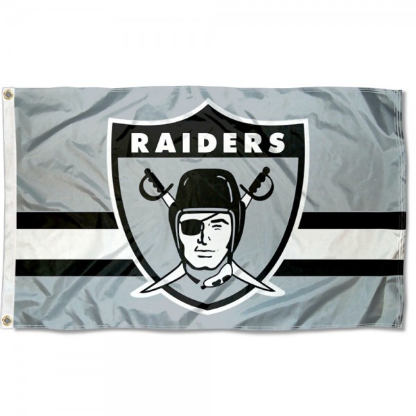 Our Las Vegas Raiders Throwback Retro Vintage Logo Flag is double sided, made of poly, 3'x5', has two metal grommets, indoor or outdoor, and four-stitched fly ends. These Las Vegas Raiders Throwback Retro Vintage Logo Flags are Officially Approved by the Las Vegas Raiders.