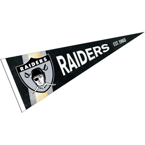 This Las Vegas Raiders Throwback Vintage Retro Pennant is 12x30 inches, is made of premium felt blends, has a pennant stick sleeve, and the team logos are single sided screen printed. Our Las Vegas Raiders Throwback Vintage Retro Pennant is NFL Officially Licensed.