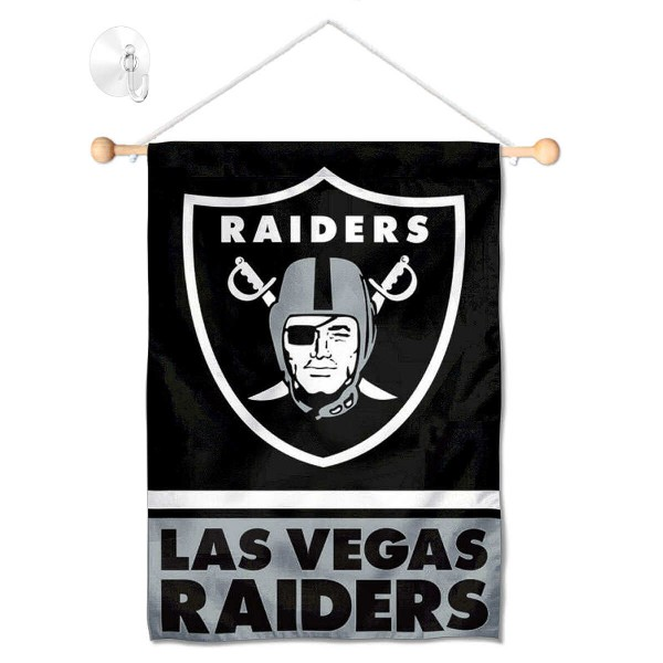"""Las Vegas Raiders Window and Wall Banner kit includes our 12.5""""x18"""" garden banner which is made of 2 ply poly with liner and has screen printed licensed logos. Also, a 17"""" wide banner pole with suction cup is included so your Las Vegas Raiders Window and Wall Banner is ready to be displayed with no tools needed for setup. Fast Overnight Shipping is offered and the flag is Officially Licensed and Approved by the selected team."""