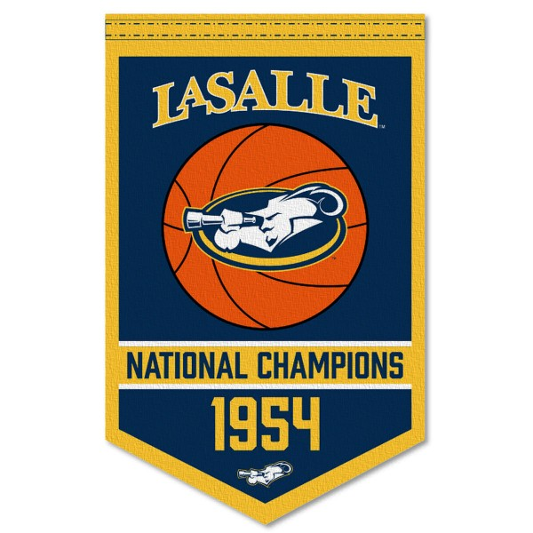 LaSalle Explorers Basketball National Champions Banner consists of our sports dynasty year banner which measures 15x24 inches, is constructed of rigid felt, is single sided imprinted, and offers a pennant sleeve for insertion of a pennant stick, if desired. This sports banner is a unique collectible and keepsake of the legacy game and is Officially Licensed and University, School, and College Approved.