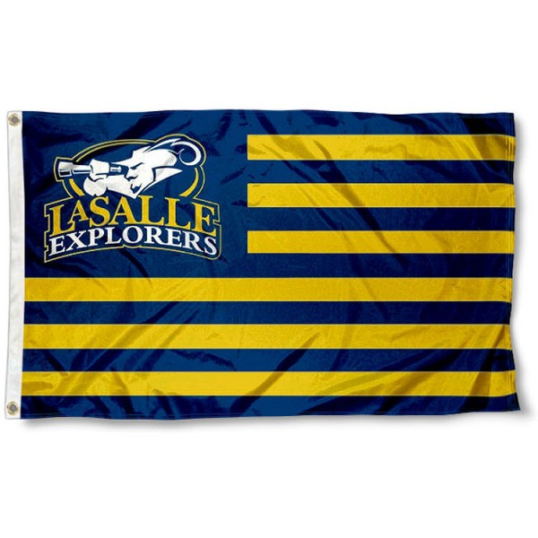 LaSalle Explorers Stripes Flag measures 3'x5', is made of polyester, offers double stitched flyends for durability, has two metal grommets, and is viewable from both sides with a reverse image on the opposite side. Our LaSalle Explorers Stripes Flag is officially licensed by the selected school university and the NCAA.