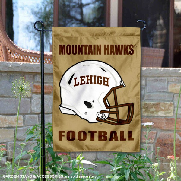 Lehigh Mountain Hawks Helmet Yard Garden Flag is 13x18 inches in size, is made of 2-layer polyester with Liner, screen printed university athletic logos and lettering, and is readable and viewable correctly on both sides. Available same day shipping, our Lehigh Mountain Hawks Helmet Yard Garden Flag is officially licensed and approved by the university and the NCAA.