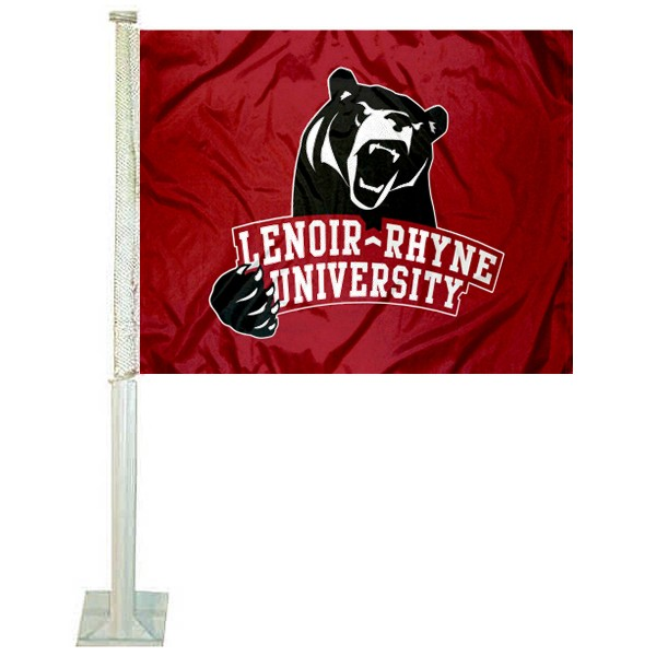 Lenoir Rhyne Bears Logo Car Flag measures 12x15 inches, is constructed of sturdy 2 ply polyester, and has screen printed school logos which are readable and viewable correctly on both sides. Lenoir Rhyne Bears Logo Car Flag is officially licensed by the NCAA and selected university.