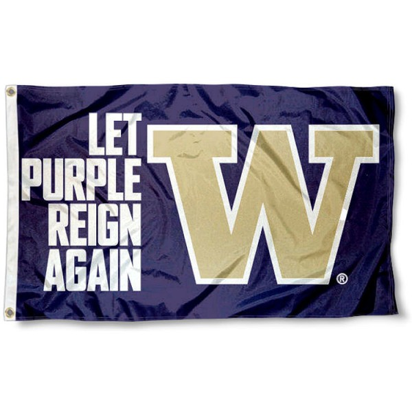 Let Purple Reign Again UW Huskies Flag measures 3x5 feet, is made of 100% polyester, offers quadruple stitched flyends, has two metal grommets, and offers screen printed NCAA team logos and insignias. Our Let Purple Reign Again UW Huskies Flag is officially licensed by the selected university and NCAA.