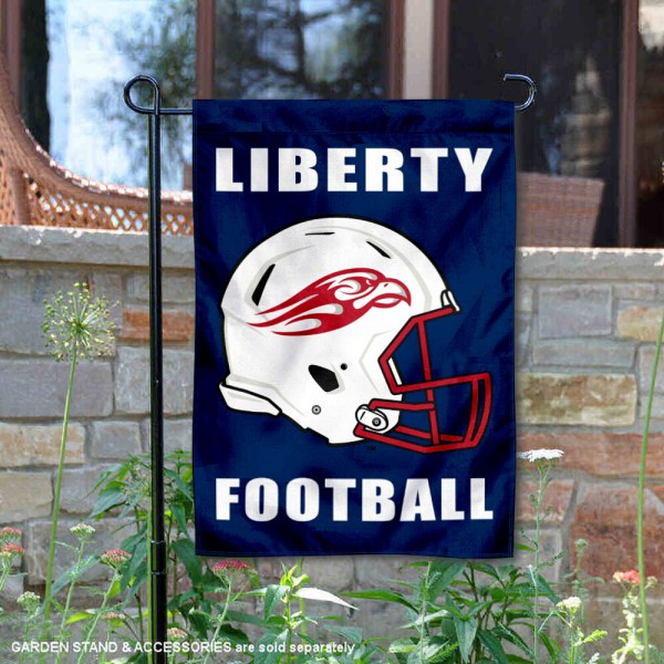 Liberty Flames Helmet Yard Garden Flag is 13x18 inches in size, is made of 2-layer polyester with Liner, screen printed university athletic logos and lettering, and is readable and viewable correctly on both sides. Available same day shipping, our Liberty Flames Helmet Yard Garden Flag is officially licensed and approved by the university and the NCAA.