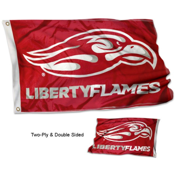Liberty Flames LU Double Sided 3x5 Flag measures 3'x5', is made of 2 layer 100% polyester, has quadruple stitched flyends for durability, and is readable correctly on both sides. Our Liberty Flames LU Double Sided 3x5 Flag is officially licensed by the university, school, and the NCAA.