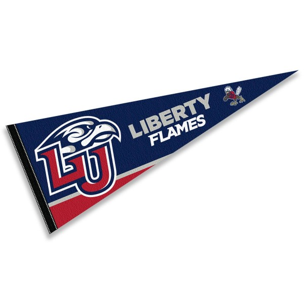 Liberty University Pennant consists of our full size sports pennant which measures 12x30 inches, is constructed of felt, is single sided imprinted, and offers a pennant sleeve for insertion of a pennant stick, if desired. This Liberty University Felt Pennant is officially licensed by the selected university and the NCAA.