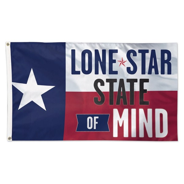 Lone Star State of Mind Flag measures 3'x5', is made of 100% poly, has quadruple stitched sewing, two metal grommets, and has double sided Lone Star State of Mind logos.