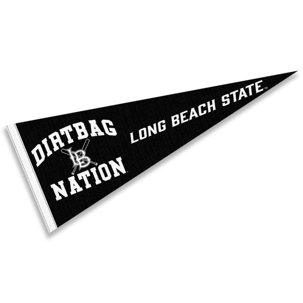 Long Beach State Dirtbag Nation Pennant consists of our full size sports pennant which measures 12x30 inches, is constructed of felt, is single sided imprinted, and offers a pennant sleeve for insertion of a pennant stick, if desired. This Long Beach State Pennant Decorations is Officially Licensed by the selected university and the NCAA.
