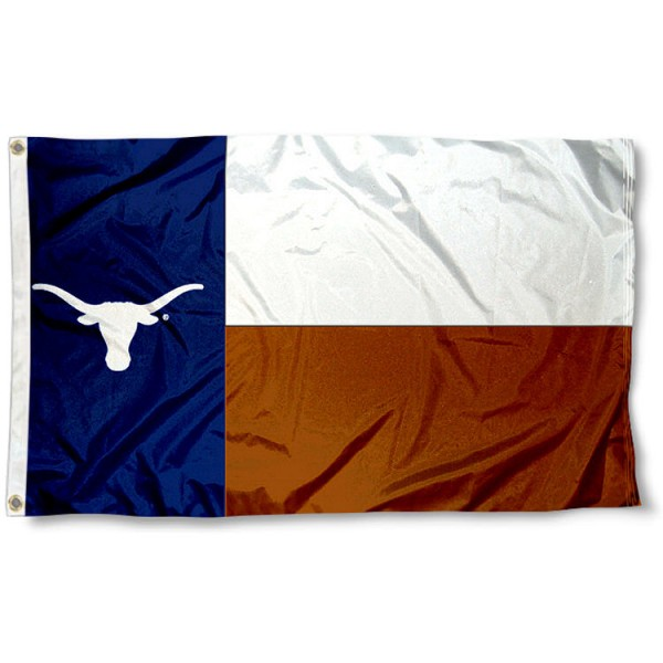 Longhorns State Flag measures 3x5 feet, is made of 100% polyester, offers quadruple stitched flyends, has two metal grommets, and offers screen printed NCAA team logos and insignias. Our Longhorns State Flag is officially licensed by the selected university and NCAA