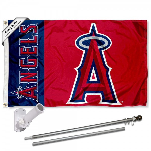 Our Los Angeles Angels Flag Pole and Bracket Kit includes the flag as shown and the recommended flagpole and flag bracket. The flag is made of polyester, has quad-stitched flyends, and the MLB Licensed team logos are double sided screen printed. The flagpole and bracket are made of rust proof aluminum and includes all hardware so this kit is ready to install and fly.