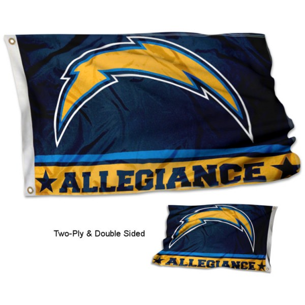 Los Angeles Chargers Allegiance Flag measures 3'x5', is made of 2-ply double sided polyester with liner, has quadruple stitched sewing, two metal grommets, and has two sided team logos. Our Los Angeles Chargers Allegiance Flag is officially licensed by the selected team and the NFL and is available with overnight express shipping.