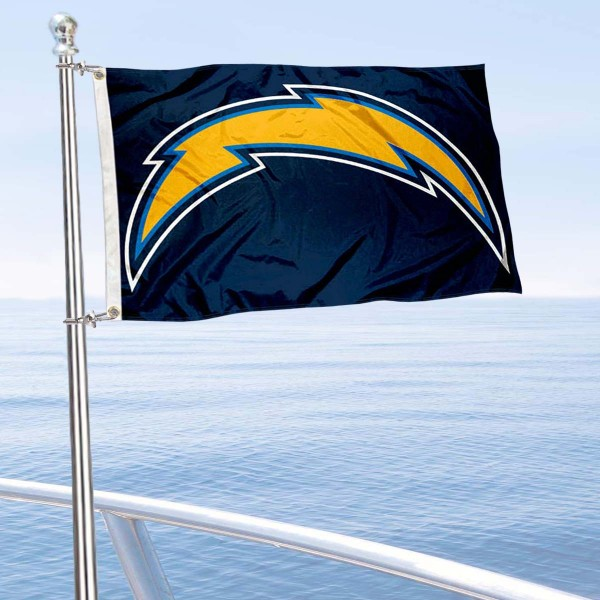"Our Los Angeles Chargers Boat and Nautical Flag is 12""x18"", made of three-ply poly, has a solid header with two metal grommets, and is double sided. This Boat and Nautical Flag for Los Angeles Chargers is Officially Licensed by the NFL and can also be used as a motorcycle flag, boat flag, golf cart flag, or recreational flag."