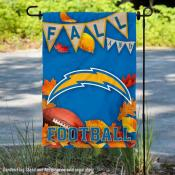 Los Angeles Chargers Fall Football Leaves Decorative Double Sided Garden Flag
