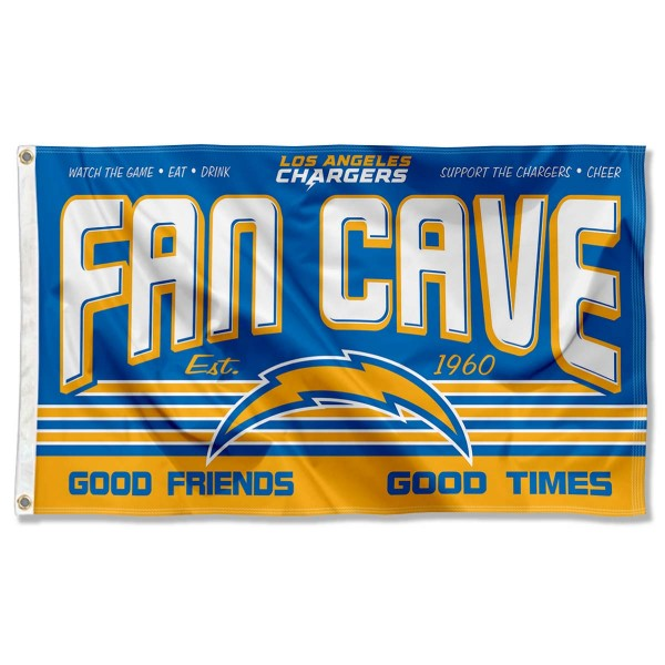Our Los Angeles Chargers Fan Cave Flag Large Banner is double sided, made of poly, 3'x5', has two metal grommets, indoor or outdoor, and four-stitched fly ends. These Los Angeles Chargers Fan Cave Flag Large Banners are Officially Approved by the Los Angeles Chargers.