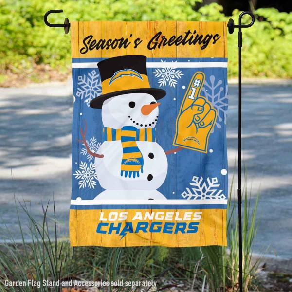 Los Angeles Chargers Holiday Winter Snow Double Sided Garden Flag is 12.5x18 inches in size, is made of 2-ply polyester, and has two sided screen printed logos and lettering. Available with Express Next Day Ship, our Los Angeles Chargers Holiday Winter Snow Double Sided Garden Flag is NFL Officially Licensed and is double sided.