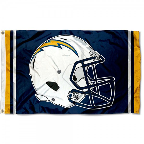 Our Los Angeles Chargers New Helmet Flag is two sided, made of poly, 3'x5', Overnight Shipping, has two metal grommets, indoor or outdoor, and four-stitched fly ends. These Los Angeles Chargers New Helmet Flags are Officially Approved by the Los Angeles Chargers.