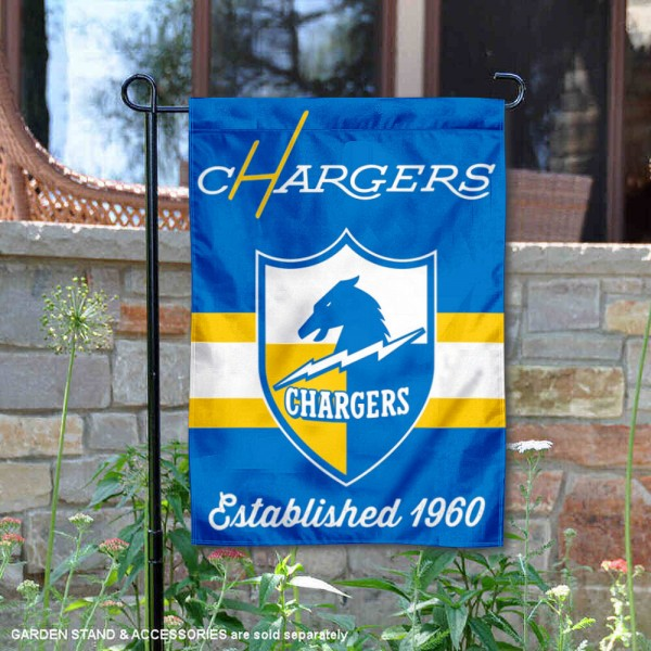 Los Angeles Chargers Throwback Logo Double Sided Garden Flag Flag is 12.5x18 inches in size, is made of 2-ply polyester, and has two sided screen printed logos and lettering. Available with Express Next Day Ship, our Los Angeles Chargers Throwback Logo Double Sided Garden Flag Flag is NFL Officially Licensed and is double sided.