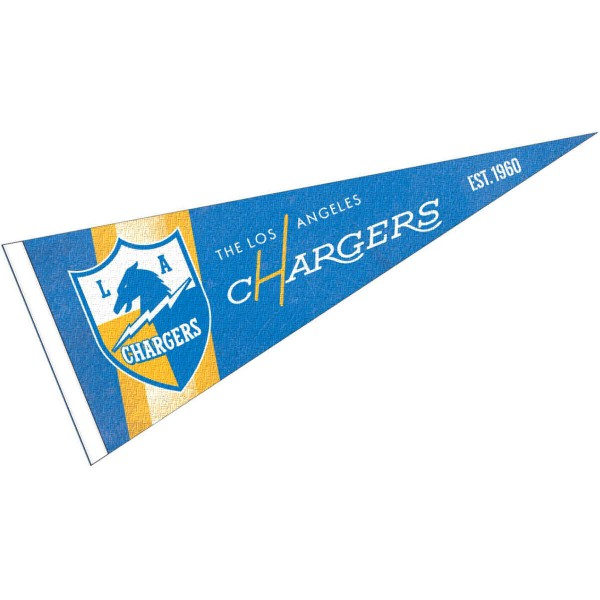 This Los Angeles Chargers Throwback Vintage Retro Pennant is 12x30 inches, is made of premium felt blends, has a pennant stick sleeve, and the team logos are single sided screen printed. Our Los Angeles Chargers Throwback Vintage Retro Pennant is NFL Officially Licensed.