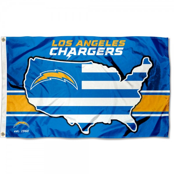 Our Los Angeles Chargers USA Country Flag is double sided, made of poly, 3'x5', has two metal grommets, indoor or outdoor, and four-stitched fly ends. These Los Angeles Chargers USA Country Flags are Officially Approved by the Los Angeles Chargers.