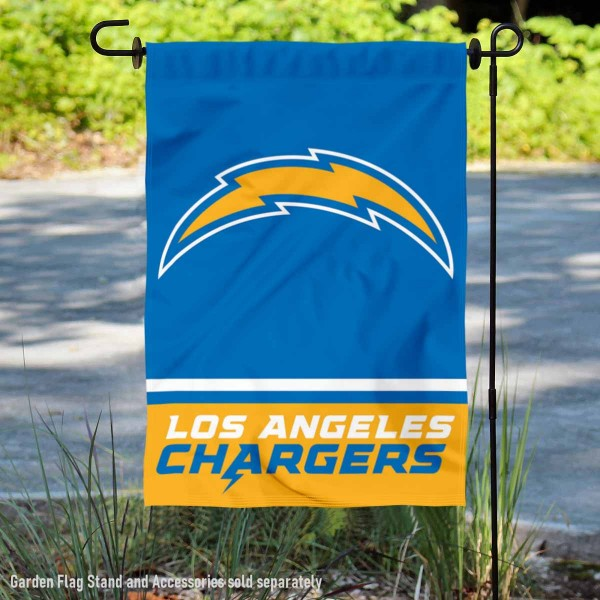 Los Angeles Chargers Wordmark Double Sided Garden Flag Flag is 12.5x18 inches in size, is made of 2-ply polyester, and has two sided screen printed logos and lettering. Available with Express Next Day Ship, our Los Angeles Chargers Wordmark Double Sided Garden Flag Flag is NFL Officially Licensed and is double sided.