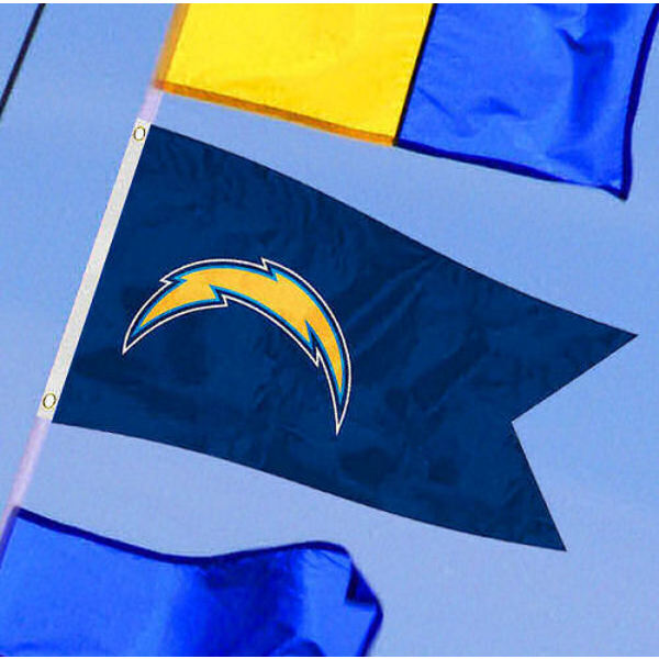 Los Angeles Chargers Yacht Flag measures 12x18 inches, is made of two-ply polyesters, offers double stitched flyends for durability, has two metal grommets, and is viewable from both sides. Our Los Angeles Chargers Yacht Flag is Officially Licensed by the NFL and Teams and can be used as a motorcycle flag, golf cart flag, or ATV flag.