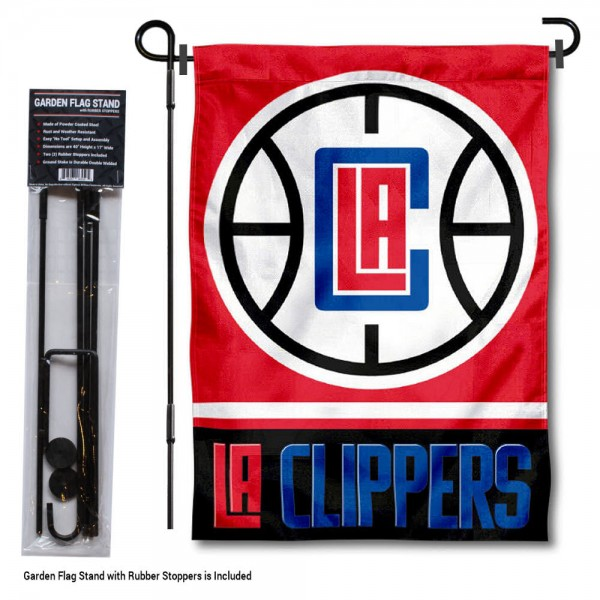 "Los Angeles Clippers Garden Flag and Flagpole Stand kit includes our 12.5""x18"" garden banner which is made of 2 ply poly with liner and has screen printed licensed logos. Also, a 40""x17"" inch garden flag stand is included so your Los Angeles Clippers Garden Flag and Flagpole Stand is ready to be displayed with no tools needed for setup. Fast Overnight Shipping is offered and the flag is Officially Licensed and Approved by the selected team."