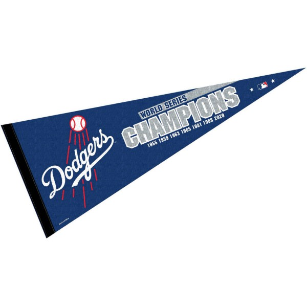This Los Angeles Dodgers 7 Time Champions Pennant measures 12x30 inches, is constructed of felt, and is single sided screen printed with the Los Angeles Dodgers logo and insignia. Each Los Angeles Dodgers 7 Time Champions Pennant is a MLB Genuine Merchandise product.
