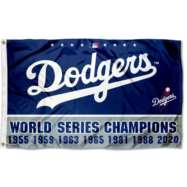 Our Los Angeles Dodgers 7 Time World Champions Grommet Flag is double sided, made of poly, 3'x5', has two grommets, and four-stitched fly ends. These Los Angeles Dodgers 7 Time World Champions Grommet Flags are Officially Licensed by the MLB.