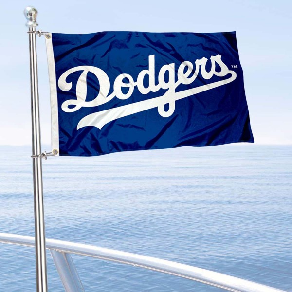 "Our Los Angeles Dodgers Boat and Nautical Flag is 12""x18"", made of three-ply poly, has a solid header with two metal grommets, and is double sided. This Boat and Nautical Flag for Los Angeles Dodgers is Officially Licensed by the MLB and can also be used as a motorcycle flag, boat flag, golf cart flag, or recreational flag."