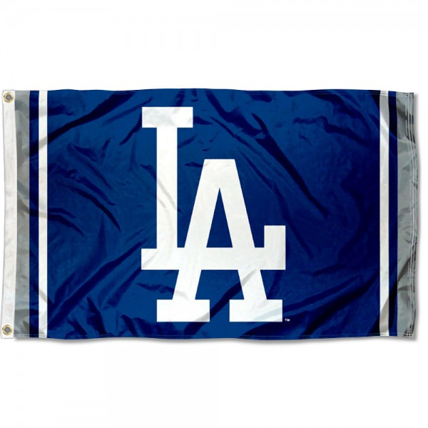 Our Los Angeles Dodgers LA Logo Flag is double sided, made of poly, 3'x5', has two grommets, and four-stitched fly ends. These Los Angeles Dodgers LA Logo Flags are Officially Licensed by the MLB.