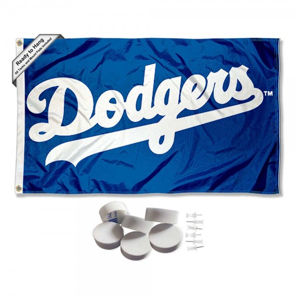 Our Los Angeles Dodgers Script Banner Flag with Tack Wall Pads is double sided, made of poly, 3'x5', has two metal grommets, indoor or outdoor, and four-stitched fly ends. These Los Angeles Dodgers Script Banner Flag with Tack Wall Padss are Officially Approved by the Boston Bruins. Tapestry Wall Hanging Tack Pads which include a 6 pack of banner display pads with 6 tacks allowing you to hang your pennant on any wall damage-free.