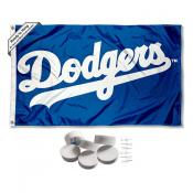 Los Angeles Dodgers Script Banner Flag with Tack Wall Pads