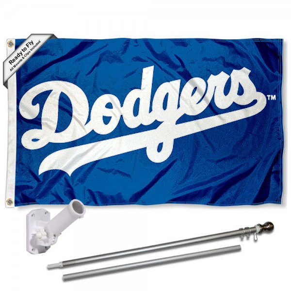 Our Los Angeles Dodgers Script Flag Pole and Bracket Kit includes the flag as shown and the recommended flagpole and flag bracket. The flag is made of polyester, has quad-stitched flyends, and the MLB Licensed team logos are double sided screen printed. The flagpole and bracket are made of rust proof aluminum and includes all hardware so this kit is ready to install and fly.