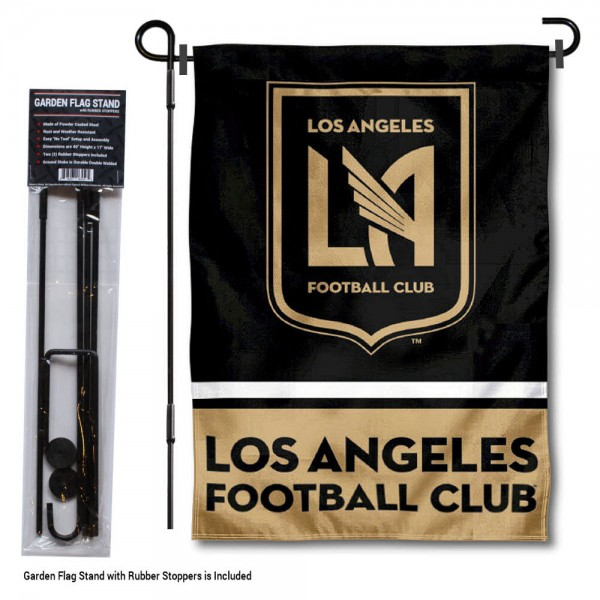 "Los Angeles FC Garden Flag and Flagpole Stand kit includes our 12.5""x18"" garden banner which is made of 2 ply poly with liner and has screen printed licensed logos. Also, a 40""x17"" inch garden flag stand is included so your Los Angeles FC Garden Flag and Flagpole Stand is ready to be displayed with no tools needed for setup. Fast Overnight Shipping is offered and the flag is Officially Licensed and Approved by the selected team."