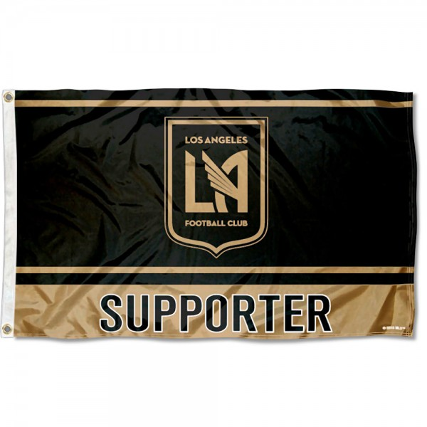 Los Angeles FC Supporter 3x5 Foot Logo Flag measures 3x5 feet and offers quadruple stitched flyends. Los Angeles FC Supporter 3x5 Foot Logo Flag is made of polyester, has two metal grommets, and is viewable from both sides with the opposite side being a reverse image. This Los Angeles FC Supporter 3x5 Foot Logo Flag is Officially Licensed and MLS Approved.